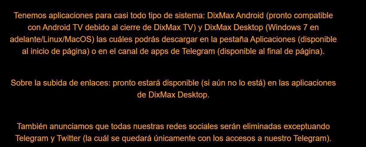 Dixmax nos dice adiós, sumándose a Megadede y Vidcorn
